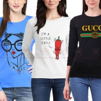 Bundle Of 3 Women's Printed T-Shirts D 14