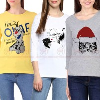 Bundle Of 3 Women's Printed T-Shirts D 15