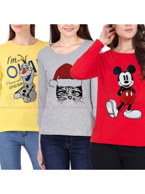 Bundle Of 3 Women's Printed T-Shirts D 20