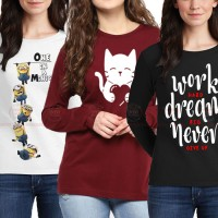 Bundle Of 3 Women's Printed T-Shirts D 21