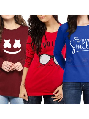 Bundle Of 3 Women's Printed T-Shirts D 22