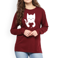 Cat Heart Full Sleeves T-Shirt in Maroon