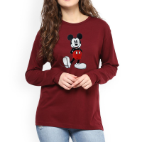 Micky Full Sleeves T-Shirt in Maroon