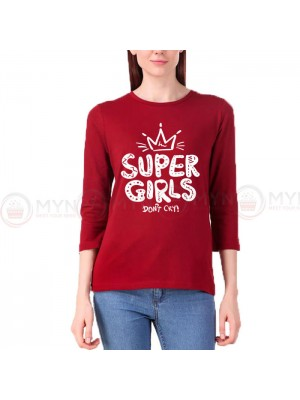 Super Girls Sleeves T-Shirt in Maroon