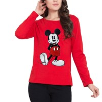 Micky Full Sleeves T-Shirt in Red