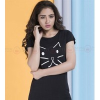 Meow Black Printed T-Shirt
