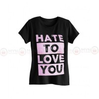 Hate To Love Black Printed T-Shirt