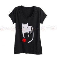 Sleeping Cat Black Printed T-Shirt