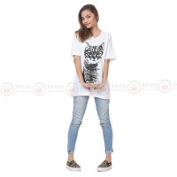 Cat Glasses White Printed T-Shirt