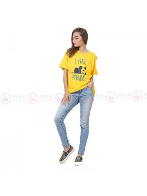 I Hate Morning Yellow Printed T-Shirt