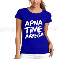 Apna Time Aayega Blue Printed T-Shirt