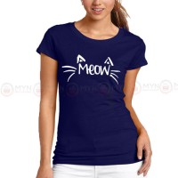 Meow Blue Printed T-Shirt