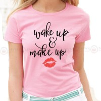 Wake Up Pink Printed T-Shirt
