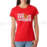 Work Smart Red Printed T-Shirt