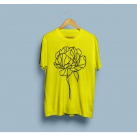 Yellow Printed Half Sleeves T-Shirt For Women PR-003