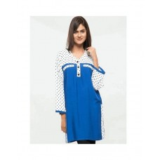 Blue Viscose Dot Printed Top