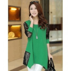 Casual Sea-Green Lace Loose Long Sleeve Top