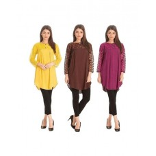Pack Of 3 Netted Sleeves Top