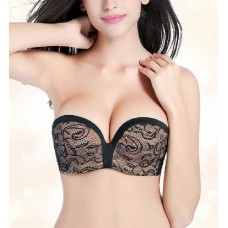 Black Strapless Wireless Invisible Bra