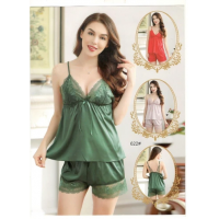 Satin Sexy Short Nighty in Green
