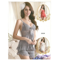 Satin Sexy Short Nighty in Grey