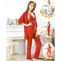 Silk Short Nighty With Gown 53012