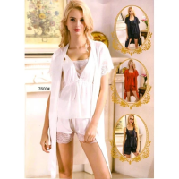 Silk Short Nighty With Gown 7600