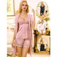 Silk Short Nighty With Gown 7604