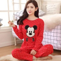 Women Stylish Red Mickey Night Suit