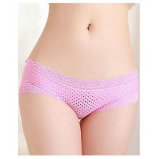 Pink Lace Transparent Briefs Panty