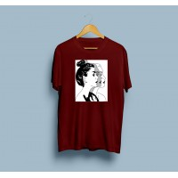 Maroon Human Logo T-Shirt For Women