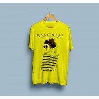 Happiness Yellow Half Sleeves Round Neck T-Shirt