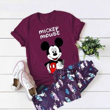 Mickey Mouse Purple T-Shirt with Printed Pajama