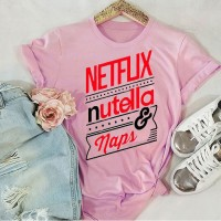 Netflix light Pink Half Sleeves Printed T-Shirt