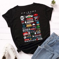 Friends Black Half Sleeves T-Shirt For Women's