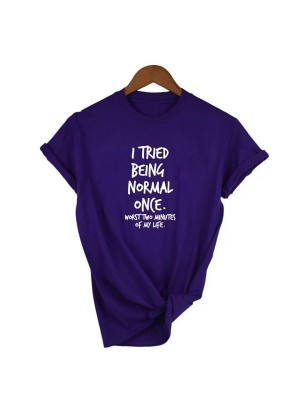 Being Normal Half Sleeves Printed T-Shirt For Women
