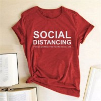 Social Distancing Half Sleeves Printed T-Shirt For Women's