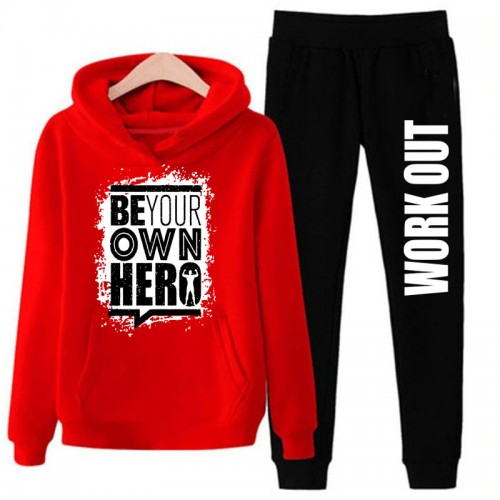 Printed Logo Red Winter Tracksuit For Men's