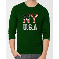 Ny Usa Dark Green Full Sleeves T-Shirt for Men