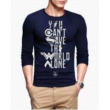 You Can't Save the World Alone Navy Blue T-Shirt for Men