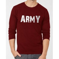 Army Maroon Full Sleeves Round Neck T-Shirt