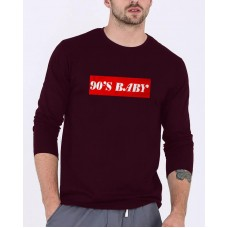 90's Baby Maroon Full Sleeves Round Neck T-Shirt