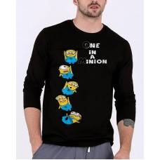 Minions Black Full Sleeves Round Neck Graphic T-Shirt