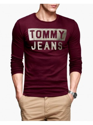 Tommy Jeans Maroon Full Sleeves Round Neck T-Shirt