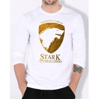 Stark White Full Sleeves Round Neck T-Shirt