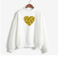 White Heart Full Sleeves Sweatshirt For Women
