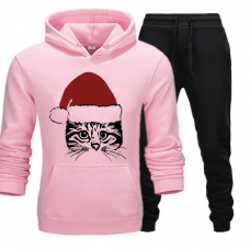 Christmas Cat Pink Tracksuit For Women's