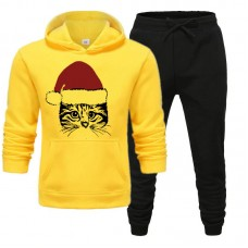 Christmas Cat Yellow Tracksuit For Women