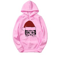 Christmas Cat Pink Hoodie For Women