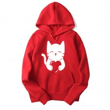Cat Love Red Hoodie For Women's